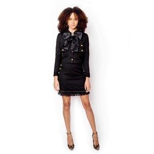 Black tweed skirt + suit blazer